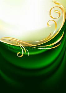 Green fabric curtain, background Gold vignette Stock