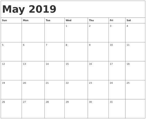 Calendar Template 2019 May 2019 Calendar Template