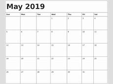 May 2019 Calendar Canada – printable weekly calendar