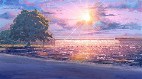 Summer Anime Wallpaper - endless summer anime sun tree sky cloud amazing