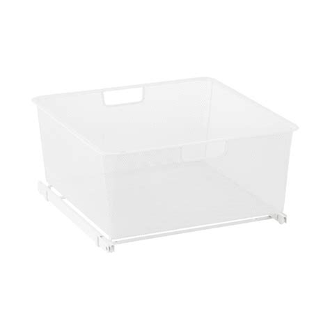 white cabinet sized elfa mesh easy gliders the container
