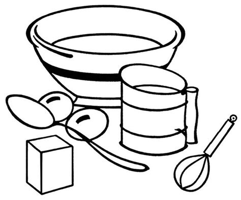 baking essentials  tools coloring page