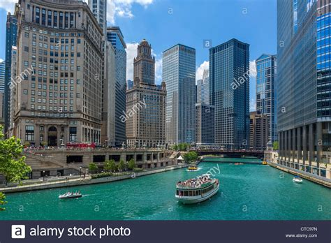 Chicago River Boat Tours by Downtown Skyline And Tour Boat On The Chicago River From