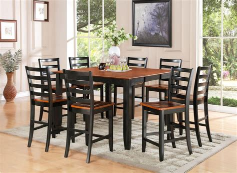 pc square counter height dining room table  wood seat