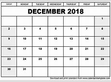December 2018 Calendar PDF printable yearly calendar