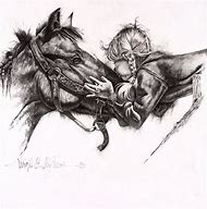 Cowgirl and Horse Pencil Drawings