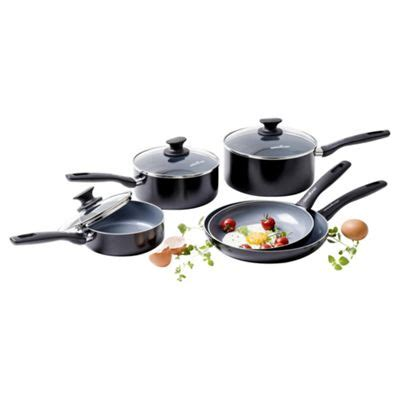 buy green chef  piece cookware set   saucepan sets range tesco