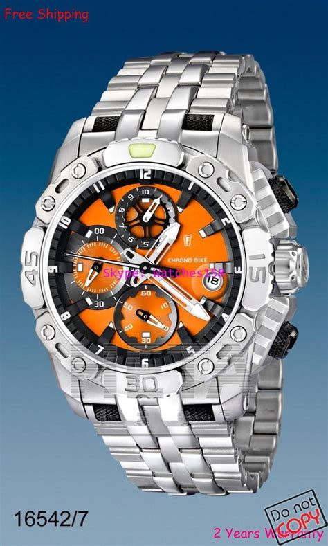 acheter festina f16542 7 16542 mens montres 192 quartz cadran orange siliver s steel band 2014