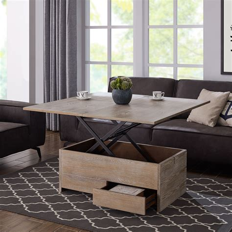 You can pull up the table to enjoy a large hidden storage space. Acor Convertible Storage Coffee Table to Dining Table - Walmart.com - Walmart.com