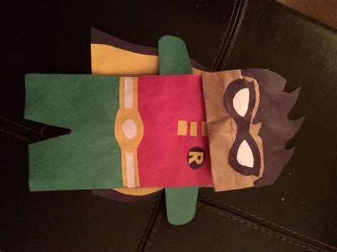 brown paper bag puppet robin  batman fame home