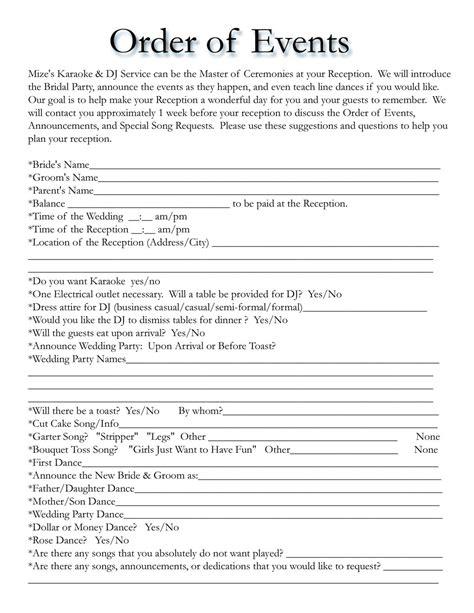wedding itinerary templates  wedding template
