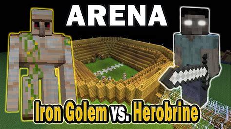 minecraft arena battle iron golem  herobrine youtube
