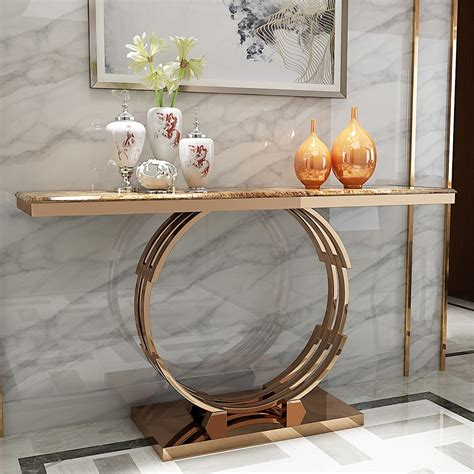 modern luxury  faux marble narrow console table