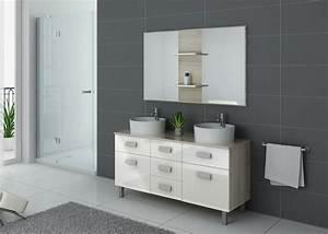 Meuble Salle De Bain Asymétrique : ensemble meuble salle de bain meuble de salle de bain 2 vasques blanc dis911sc b ~ Nature-et-papiers.com Idées de Décoration