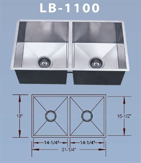 lb 1100 bs esi stainless double bowl square undermount