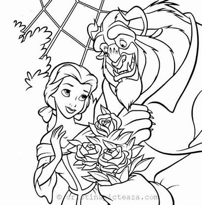 Beast Coloring Belle Flower Bouquet Give Disney