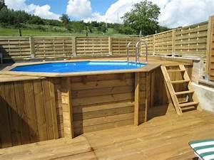 piscine en bois ocea diam 430 x 120 cm With terrasse piscine semi enterree 3 comment amenager les alentours de sa piscine semi enterree