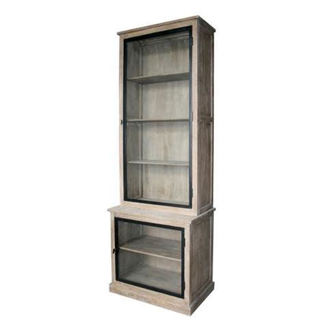 eastlake country solid oak gray wash curio cabinet