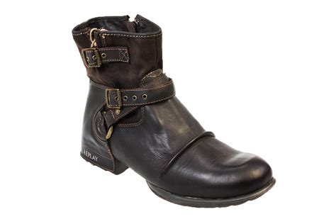 Ankle Boots : Replay Carbon Mens Sizes Leather Ankle Boots
