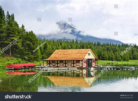 Canoes Lake Maligne by Canoes At Boathouse On Maligne Lake In Jasper National
