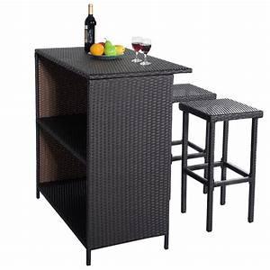 Rattan Bar Set : rattan wicker bar bbq dining set table and 2 stools patio outdoor pool parties ebay ~ Indierocktalk.com Haus und Dekorationen