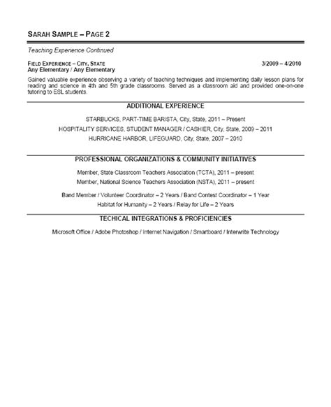 elementary resume with no experience elementary school resume exle sle