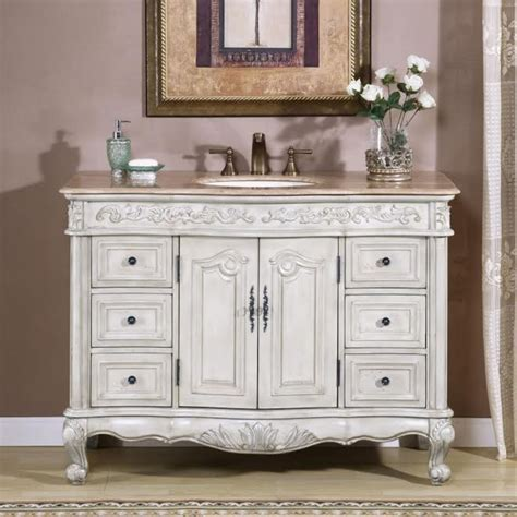 Shop birch lane for farmhouse & traditional 48 inches bathroom vanities, in the comfort of your home. 48 Inch Single Sink Vanity with Antique White Finish and ...