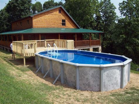 rustic house design oval above ground pool decks design cement material