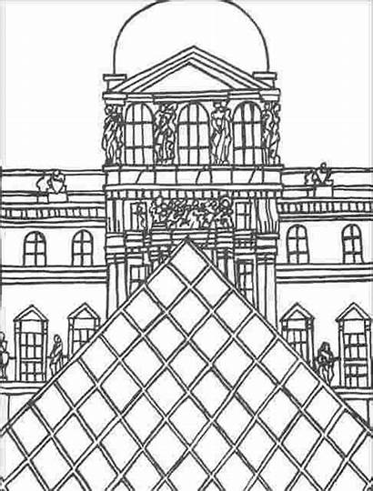 Louvre Coloring Pyramid Famous Paris Pages Clip
