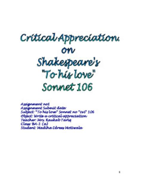 Critical Appreciation On Shakespeare's  Alevel English