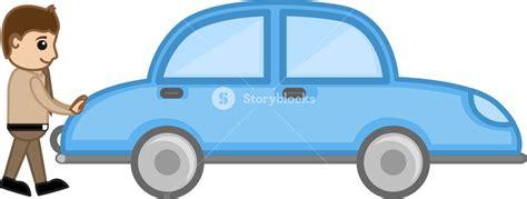 Cartoon Man Pushing The Car Vector Royalty-free Stock