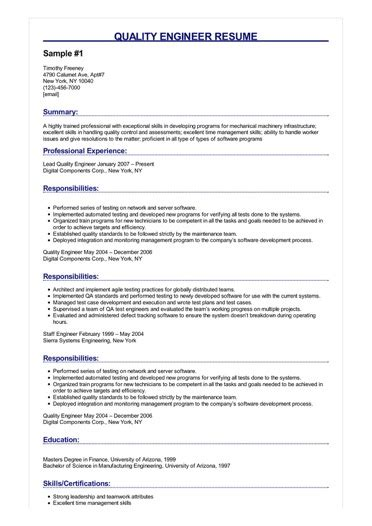 3 quality engineer resume sles