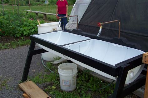 diy outdoor sink station veggie washing sink made from a 55 gallon plastic barrel