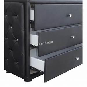 Ensemble commode et miroir similicuir coloris noir avec for Ordinary meuble a chaussure porte manteau 10 ensemble commode et miroir similicuir coloris noir avec