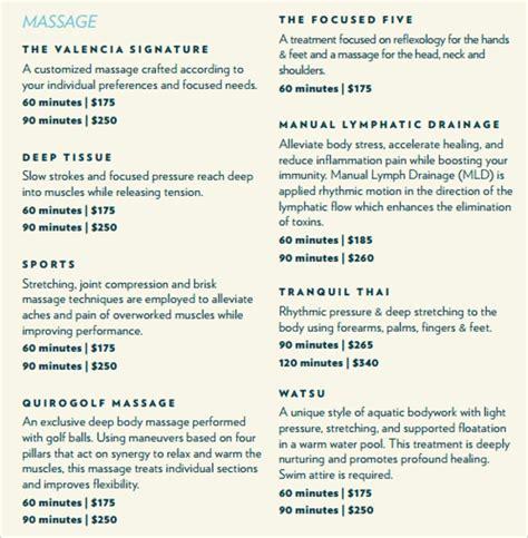 sample spa menu template   documents   psd