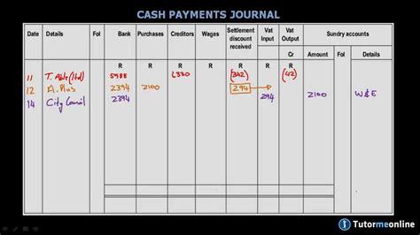 determining vat   cash payments journal youtube