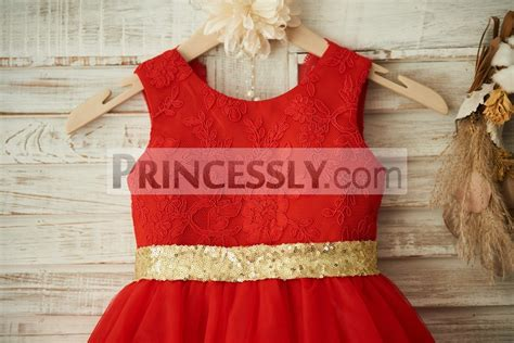 Red Lace Tulle Gold Sequin Belt\bow Wedding Flower Girl