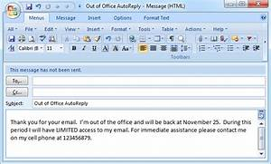 auto reply email template - set out of office auto reply in outlook 2003 2007 2010