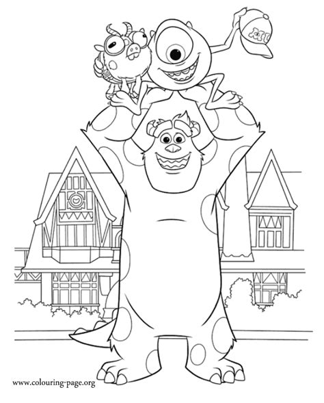 monsters university mike  sulley catch archie coloring page