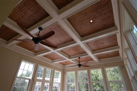 coffered ceiling  stained bead board  recessed