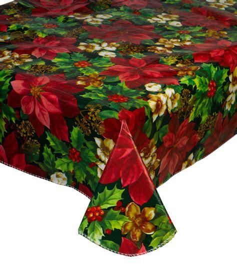 Christmas Pvc Tablecloth Flannel Back Festive Xmas Dining
