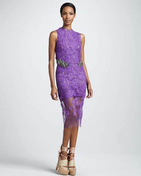 vera wang jewel waist lace sheath dress  purple