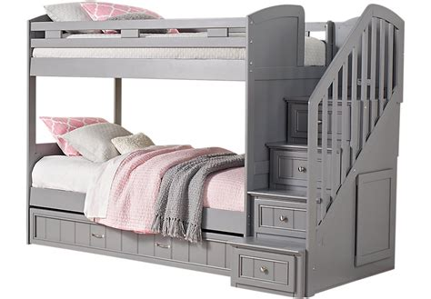 cottage colors gray bunk bed with trundle