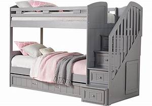 Cottage Colors Gray Twin Full Step Bunk Bed With Trundle