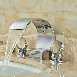 chrome brass waterfall bathroom faucet crystal glass