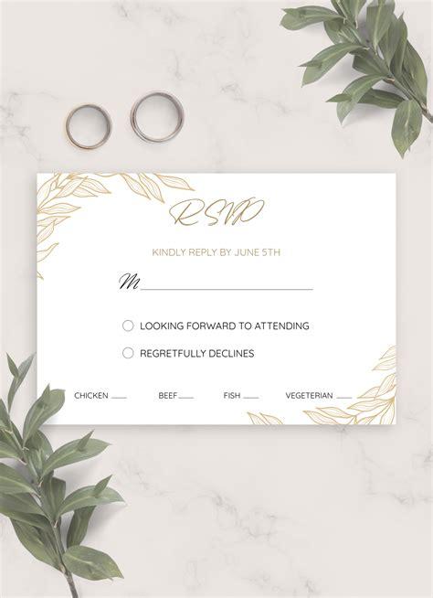 Download Printable Golden Wedding RSVP Card