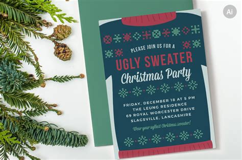 creative christmas party invitations sweater invite invitation templates on creative market