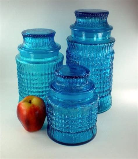 vintage blue glass canisters decor