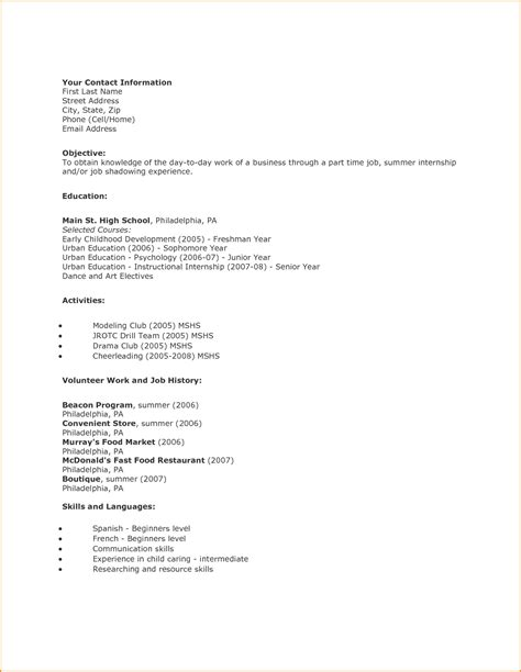 how to make a resume as a highschool student 33 images