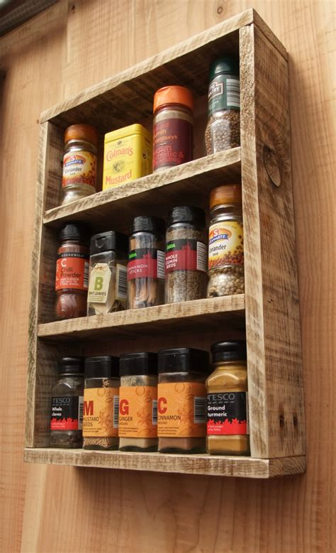Wood Spice Racks by Rustic Spice Rack Kitchen Shelf Made From Reclaimed Wood